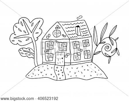 Cute Hand Drawn Doodle House With Garden, Trees Isolated On White Background.