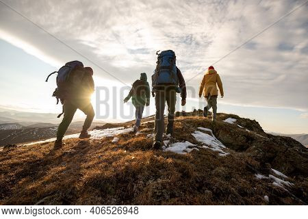 Group Of Four Hikers With Backpacks Walks In Mountains At Sunset