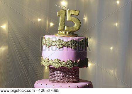 Pink Party Cake, 15th Birthday, With Golden Number Fifteen, Pink Cake, 15 Year Old Birthday Cake