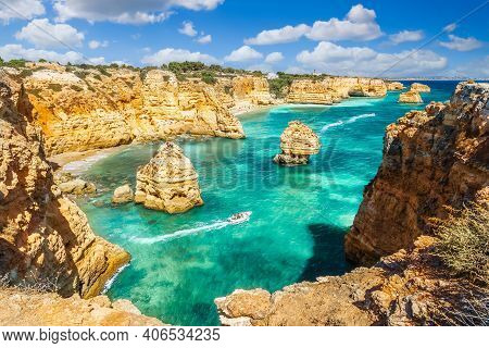Landscape With Beautiful Praia Da Marinha, One Of The Most Famous Beaches Of Portugal, Located On Th