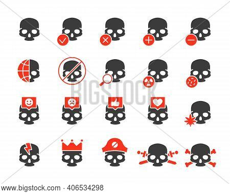 Set Of Human Skulls Colored Icon. Healthy Cranium, Diseases Of Bones Of The Head, Treatment And More