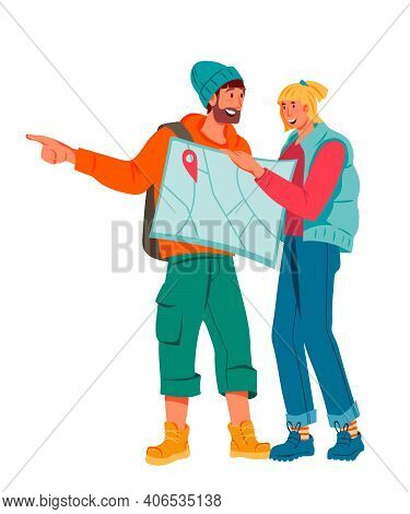 Couple Of Tourists On Vacation Holding Map, Flat Vector Illustration Isolated On White Background. T