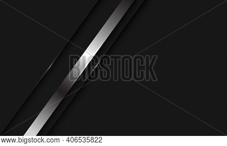 Abstract Silver Line Shadow Slash On Black With Blank Space Design Modern Luxury Background Vector I