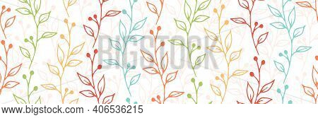 Berry Bush Sprouts Natural Vector Seamless Ornament. Minimalist Floral Textile Print. Grass Plants L