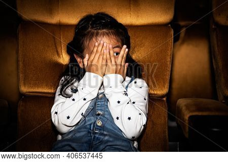Cute Little Girls Sit And Watch Fun Movies In A Thrilling Cinema With Horror And Thrilling, Using Ha