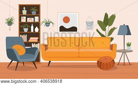 Living Room Interior. Comfortable Sofa,  Bookcase, Chair And House Plants. Vector Flat Style Cartoon