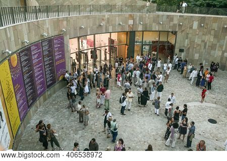 Aix En Provence, France - June 28, 2009: Crowd Of People Gathered Waiting To Enter Grand Theatre De