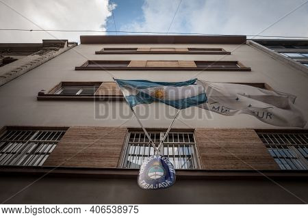 Belgrade, Serbia - July 8, 2018: Sign Indicating The Argentinian Embassy Of Belgrade With Flags Of A