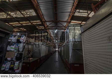 Subotica, Serbia - November 17, 2020: Stalls And Boutiques Almost All Closed In A Deserted Alley Of