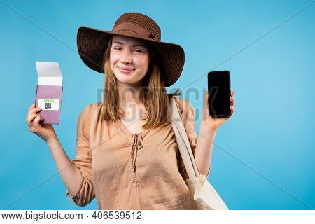 Online App For Passenger And Traveller. Young Blonde Woman Ready For Voyage, Summer Hat Showing Mobi