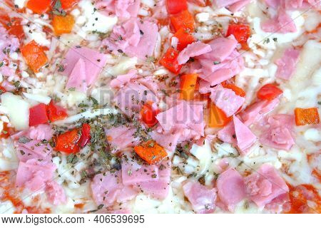 Prepared Appetizing Italian Pizza With Bacon And Cheese With Vegetables As Background Top View Close