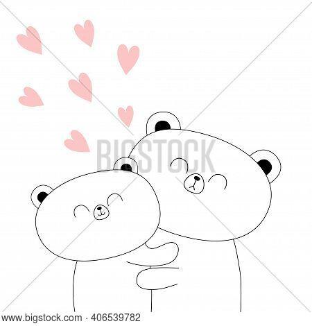 Bear Couple. Hugging Family. Hug, Embrace, Cuddle. White Contour Silhouette. Cute Kawaii Funny Carto