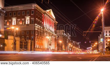Moscow, Russia, September 19, 2015 - View Of The Building Of The Moscow City Hall With Illumination