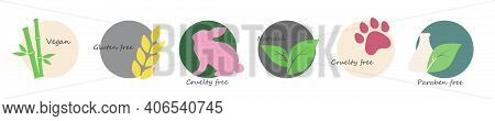 Icon Set: Gluten Free, Cruelty Free, Paraben Free, Vegan, Sls Free And Natural. In Trendy Colors. Fo