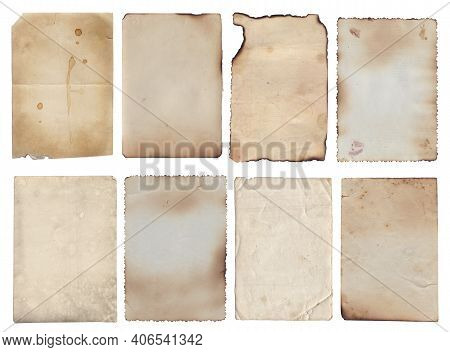Set Of Old Various Vintage Rough Paper With Scratches And Stains Texture Isolated