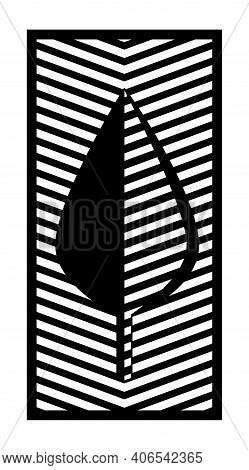 Cnc Pattern With Leaf. Decorative Panel, Screen, Wall. Vector Cnc Leaf For Laser Cutting. Template F