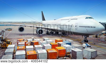 Modern Airliner Gets Service At The Airport