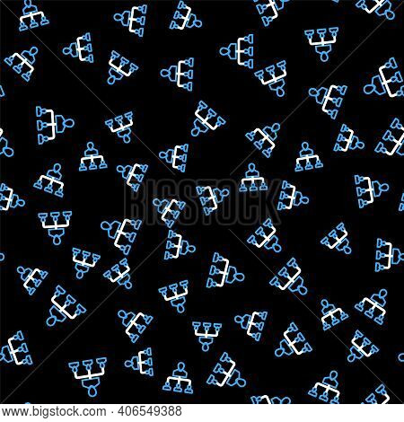 Line Referral Marketing Icon Isolated Seamless Pattern On Black Background. Network Marketing, Busin