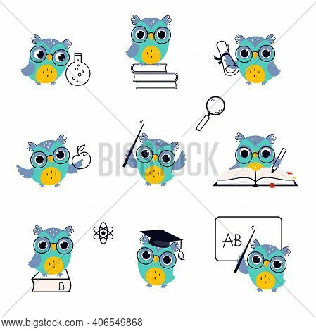 Wise Owl Wearing Glasses In Various Actions Set, Cute Bird Teacher Cartoon Character Teaching At Les