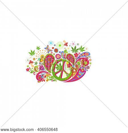 Colorful psychedelic fashion print for t shirt, bag design with hippie peace symbol, flower-power, marijuana leaves, paisley, fly agaric on white background