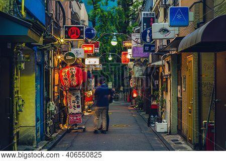 June 11, 2019: Night Scene Of Shinjuku Golden Gai, A Small Area Of Kabukicho, Shinjuku, Tokyo, Japan