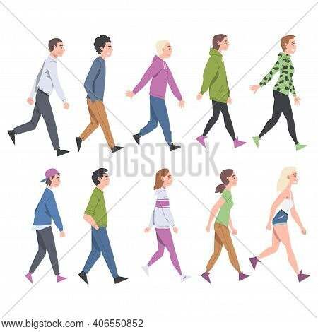 People Characters Going And Walking With Different Gait Side View Vector Illustration Set