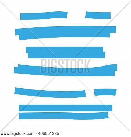 Highlighted With A Marker. A Set Of Marker Strips. Simple Vector Illustration On A White Background.