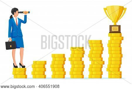 Businesswoman With Briefcase Looking For Opportunities In Spyglass. Business Woman Look Up To Trophy