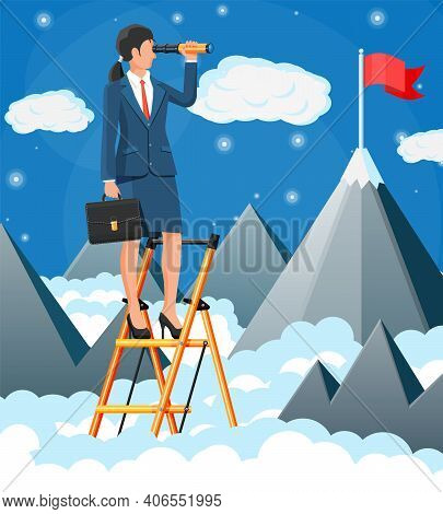 Businessmanwoman On Ladder Looking For Opportunities In Spyglass. Business Woman Look Up To The Targ