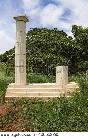 Greek Columns Tribute Monument Located At Sao Paulo's Countryside. Frontal Picture Of Atena Park's P
