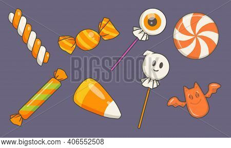 Collection Of Traditional Vector Cartoon Halloween Candy Illustrations Inlcuding Ghost And Eyeball L
