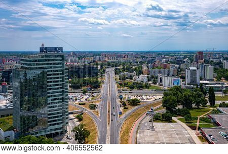 Bratislava, Slovakia - July 9, 2019: The Modern District Of The City Seen From The Ufo Tower Of The