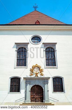 Bratislava, Slovakia, The Facade Of The Jesuit Church Of The  Holy Savior In The Cemtral Hlavne Squa