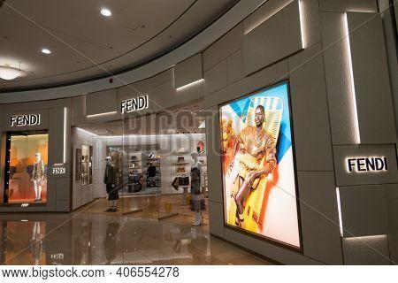 Taipei, Taiwan - June 15th, 2020: Fendi, famous brand at 101 department store at Taipei, Taiwan, Asia