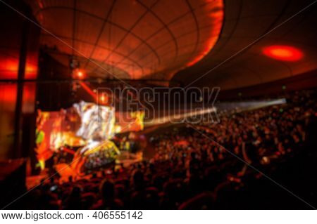 Abstract Blurred Background Of Big Esports Gaming Event At Big Arena.