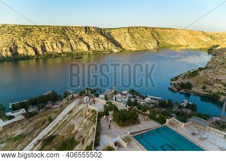 Halfeti, Turkey - October 7, 2020: This Is A View Of The Euphrates River From A Height In The Early