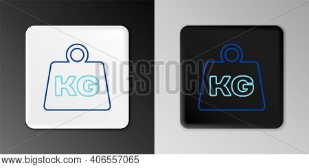 Line Weight Icon Isolated On Grey Background. Kilogram Weight Block For Weight Lifting And Scale. Ma
