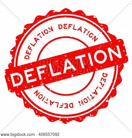 Grunge Red Deflation Word Round Rubber Seal Stamp On White Background