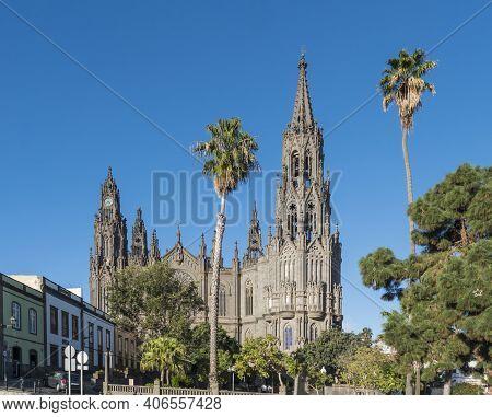 View On Beautiful Parish Church Of San Juan Bautista, Impressive Neogothic Cathedral In Arucas, Gran