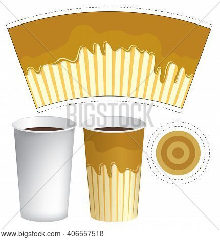 Vector Paper Cup Template For Hot Drinks. Disposable Cup For Tea, Coffee And Other Beverages With Ap