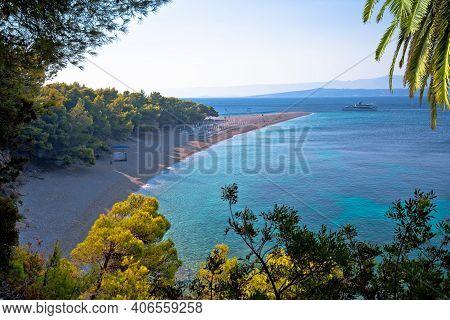 Zlatni Rat Famous Turquoise Beach In Bol On Brac Island View, Golden Horn, Dalmatia Archipelago Of C