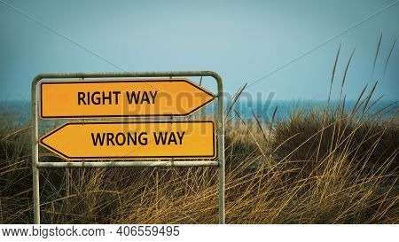 Street Sign Right Way Versus Wrong Way
