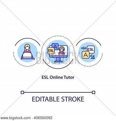 Esl Online Tutor Concept Icon. Distance Education. Idea Thin Line Illustration. Online Teaching . On