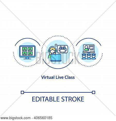 Virtual Live Class Concept Icon. Online Education Idea Thin Line Illustration. Distance Education. O