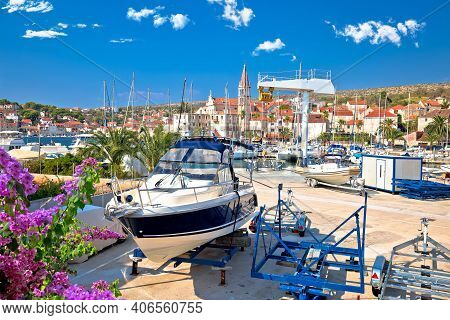 Town Of Milna Harbor And Waterfront Architecture View, Island Of Brac, Dalmatia Archipelago Of Croat