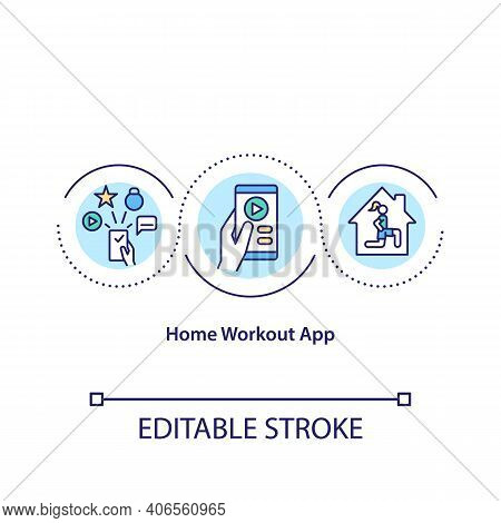 Home Workout App Concept Icon. Getting Best Software For Exercising In Any Place. Remote Workout Pla