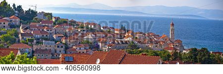 Town Of Sutivan Skyline Panoramic View, Island Of Brac, Dalmatia Archipelago Of Croatia