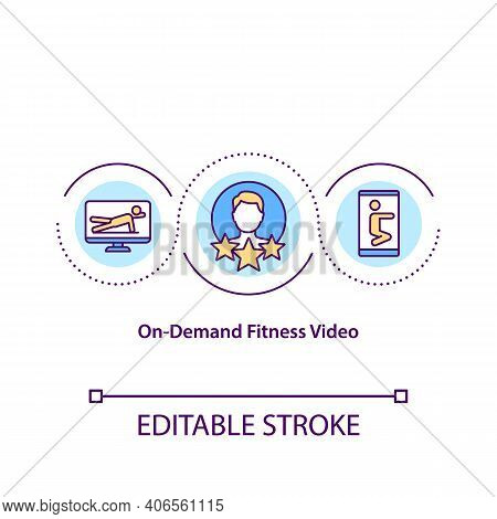 On Demand Fitness Video Concept Icon. Provides Seamless And Premium Fitness Experiences. Workout Pla