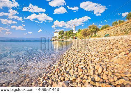 Bol On Brac Island. Monastery On Pebble Beach In Bol View, Island Of Brac, Archipelago Of Dalmatia,