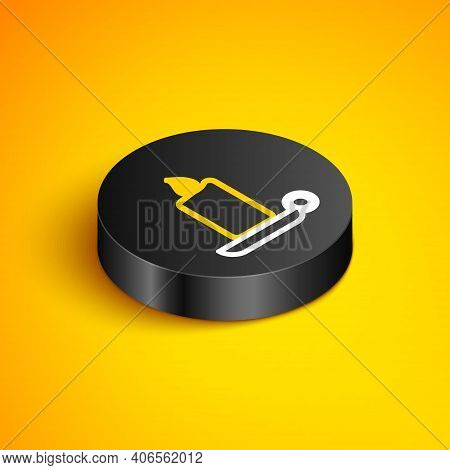 Isometric Line Burning Candle In Candlestick Icon Isolated On Yellow Background. Old Fashioned Lit C